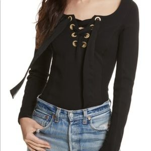 Free People NWOT black Lace up Corset top size med